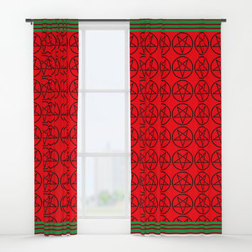 Satanic Yule Window Curtains by Kathead Tarot/David Rivera