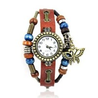 ZLYC Women Girls Fashion Vintage Handmade Leather Watch with Butterfly Pendant