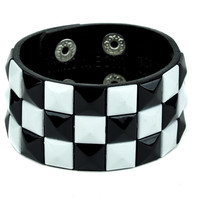 Black and White Pyramid Stud Wristband Gothic Jewelry Bracelet