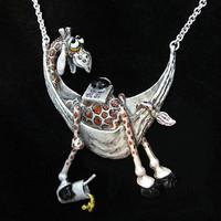"Whimsical Silver Giraffe In Hammock Necklace ""Long Hot Summer"" On Silver Chain"