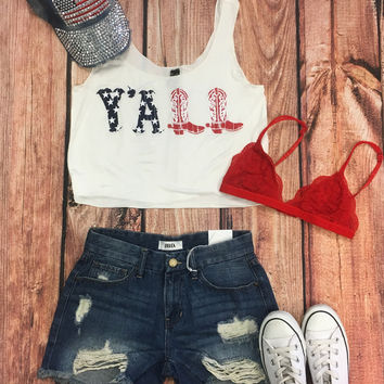 Y'all American Flag Cropped Tank