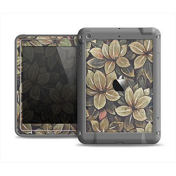 The Vintage Green Pastel Flower pattern Apple iPad Air LifeProof Fre Case Skin Set