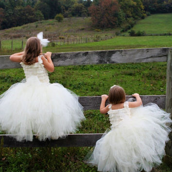 ButterCream - Flower Girl Tulle Skirt in Ivory - Sewn long length tutu skirt - choose your size and length - for weddings, portraits