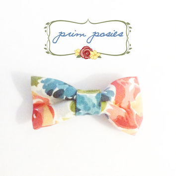 Hair Barrette, Hair Bow, Hair Accessories, Girls Bow, Gift For Her, Small Bow, Flower Bow, Cotton Bow, Womens Barrette, Floral Barrette