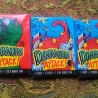 Vintage 1980s DINOSAURS ATTACK!  Trading Cards with Stickers- Three Unopened Packs- Great for Collage Art Supplies
