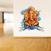 Full Color Wall Decal Mural Sticker Art Paintings Indian Ganesh Om Lotos Elephant Lord Hindu Success Buddha India Like Paintings (col157)