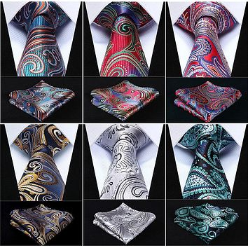 "Pocket Square Classic Party Wedding Paisley 3.4"" Silk Fashion Mens Extra Long Tie XL Necktie Handkerchief Set #C0"