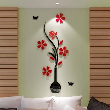 DIY 3D Vase and Flower Removable Room Decal Art DIY Wall Sticker Home Decor Decals/Adhesive Family Wall Stickers Home Decor