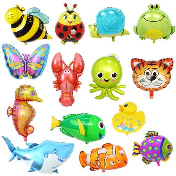 Children's Toy 32 types Large Cartoon Animal Foil Balloons Butterfly Ladybug Fish Tiger Ballons for Kids Birthday Party Decor