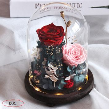Eternal Flower Gift Box Glass Decoration Little Prince Rose Real Flower