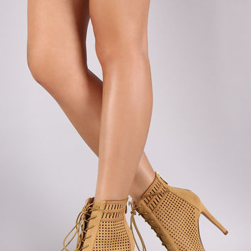 Perforated Cage Lace Up Booties
