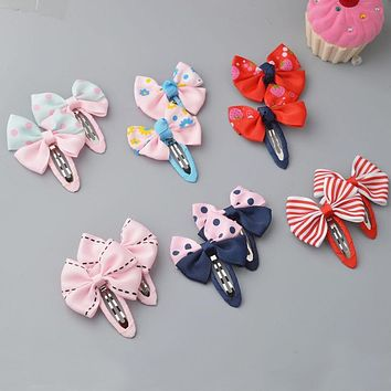 YYXUAN 2 pieces Girl Boutique Hair Bows Barrettes Clips For Kids Toddlers Girls Printing Bow Hairgrips