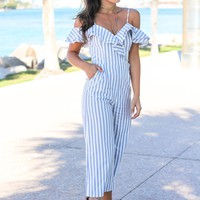 Blue and White Striped Ruffle Jumpsuit