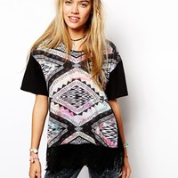 Your Eyes Lie T-Shirt With Tassel Front & All Over Geo-Tribal Print