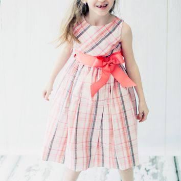 Coral Tartan Plaid Linen Blend Occasion Dress with Wide Grosgrain Ribbon Sash (Girls Sizes 2T - 12)