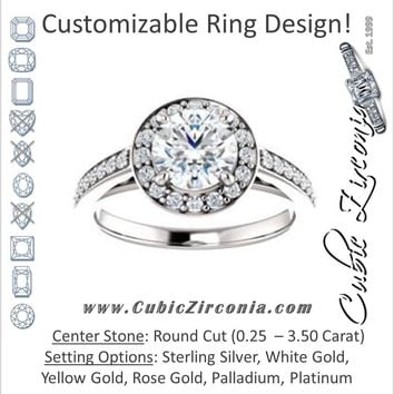 Cubic Zirconia Engagement Ring- The Farrah Michelle (Customizable Round Cut with Halo & Sculptural Trellis)