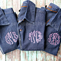 Monogram Denim Button Up Shirt