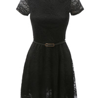 LE3NO Womens Floral Lace Dress with Faux Leather Belt
