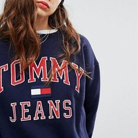 ESBV9O Tommy Hilfiger 90s Capsule Trending Logo Sweatshirt Top Sweater Pullover G