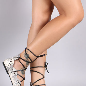 Qupid Python Scalloped Eyelet Lace-Up Open Toe Flats