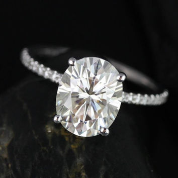 Darcy 10x8mm 14kt White Gold Oval FB Moissanite and Diamonds Classic Engagement Ring (Other metals and stone options available)