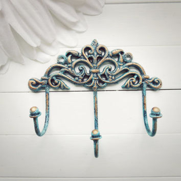 Gift Idea / Shabby Chic Wall Hook / Wall Hook / Traditional Decor / Triple Hook / Key Hanger / Coat Hook / Organize / Aqua Home Decor