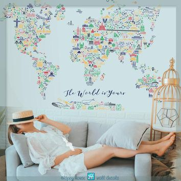 World map wall decal - Colorful world map decor - World map - Map wall decal - Large World Map  art - Nursery decoration