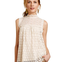 Cut Out Crochet Funnel collar Sleeveless Top