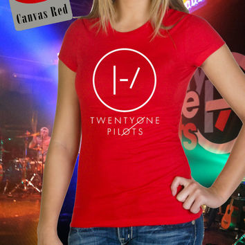 Twenty One Pilots Blurryface Inspired Round Logo Mono Color Soft High Quality Vinyl Unisex Tee shirt T-shirt