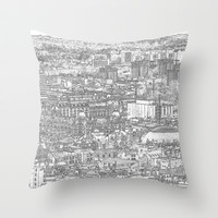 Leeds City Drawing Throw Pillow by Karl Wilson Photography