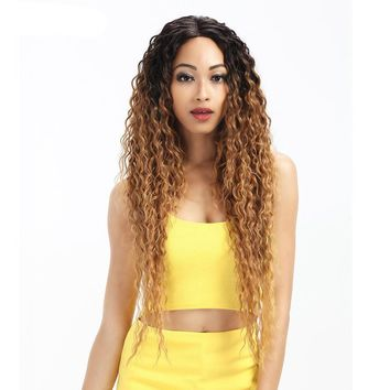 Curly 2 Colors 30 Inch Long Wavy Red Synthetic Wigs For Women