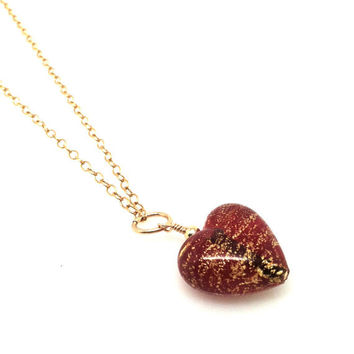 Red Heart Necklace, Murano Glass and Gold
