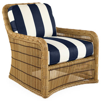 Rafter Stripe Lounge Chair, Navy, Outdoor Club Chairs