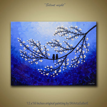 Love birds on white blossom flower tree branch Modern contemporary textured Acrylic painting- Blue & white Home Wall Decor Original Artwork