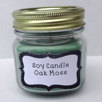 Green Soy Candle (8oz Mason Jar)- OakMoss, Green candle, Teachers gift, hostess gift, birthday gift ideas.