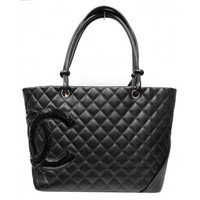 Chanel CC Logo Black Quilted Calfskin Cambon Large Shopping Bag