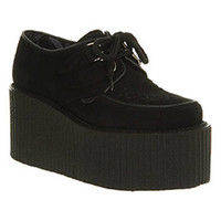 Underground TRIPLE SOLE CREEPER BLACK SUEDE Shoes - Womens Flats Shoes - Office Shoes