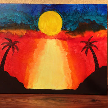 Beach Sunset melted crayon art