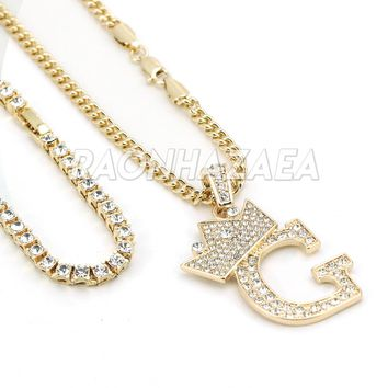 Iced Out Crown G Initial Pendant Necklace Set