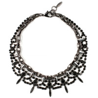 Metal-Luxe Crystal & Spike Necklace - Jet/Ruthenium/Silver Spikes