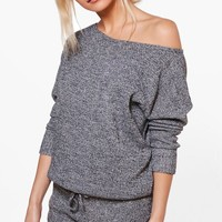 Evie Slash Neck Jumper & Short Lounge Co-ord | Boohoo
