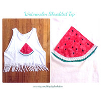 Watermelon Shredded Tee Shirt Tank top, cropped, cover up, pretty, trendy tumblr style. Teen, women. Order your size