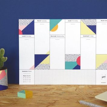 "Weekly Desk Planner with graphic patterns ""Viva"" - A4 Format"