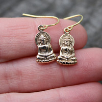 "Buddha Earrings - Yoga Jewelry . ""Gold"" . Bronze Buddha Charms . Brass Earwires . Delicate and Dainty"