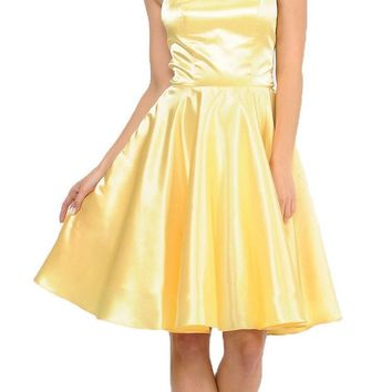 Yellow Strappy Back Homecoming Short Dress with Pockets