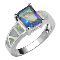 Rainbow Topaz With White Fire Opal Ring