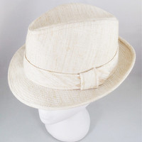 Harvard Fedora Custom Tailored Hat, Vintage Summer Beige Linen Hat, Size 7 1/8, 1960s Harvard Custom Styled Hat