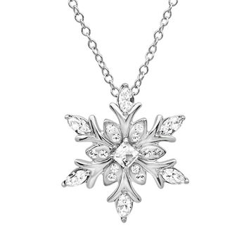 Sterling Silver Snowflake Pendant-Necklace made with Swarovski Crystals