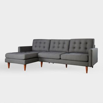 Dark Gray Ennis Left Facing Sectional Sofa