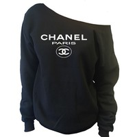 Chanel Paris Top Off-The-Shoulder Wide Neck Slouchy Sweatshirt